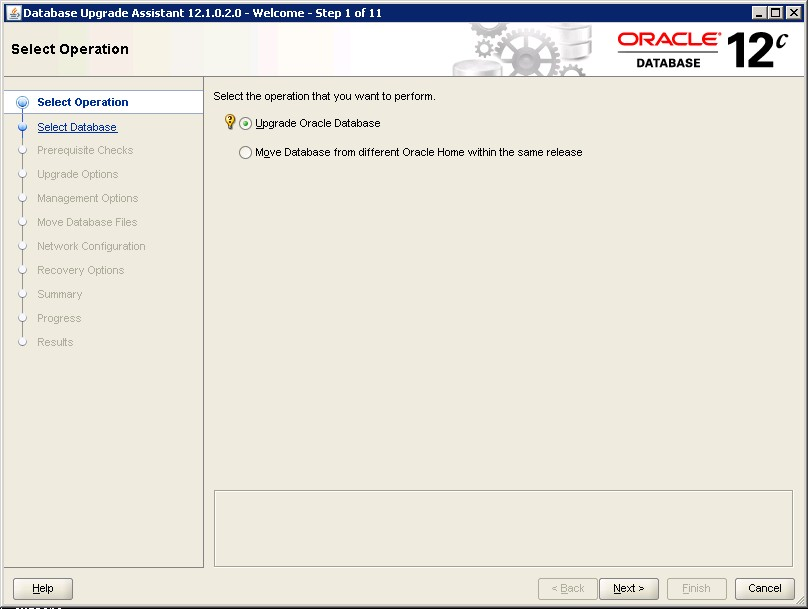 Upgrade database from 11g to 12c using DBUA DBACLASS