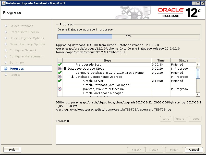 Upgrade database from 12 1 0 2 to 12 2 0 1 DBACLASS