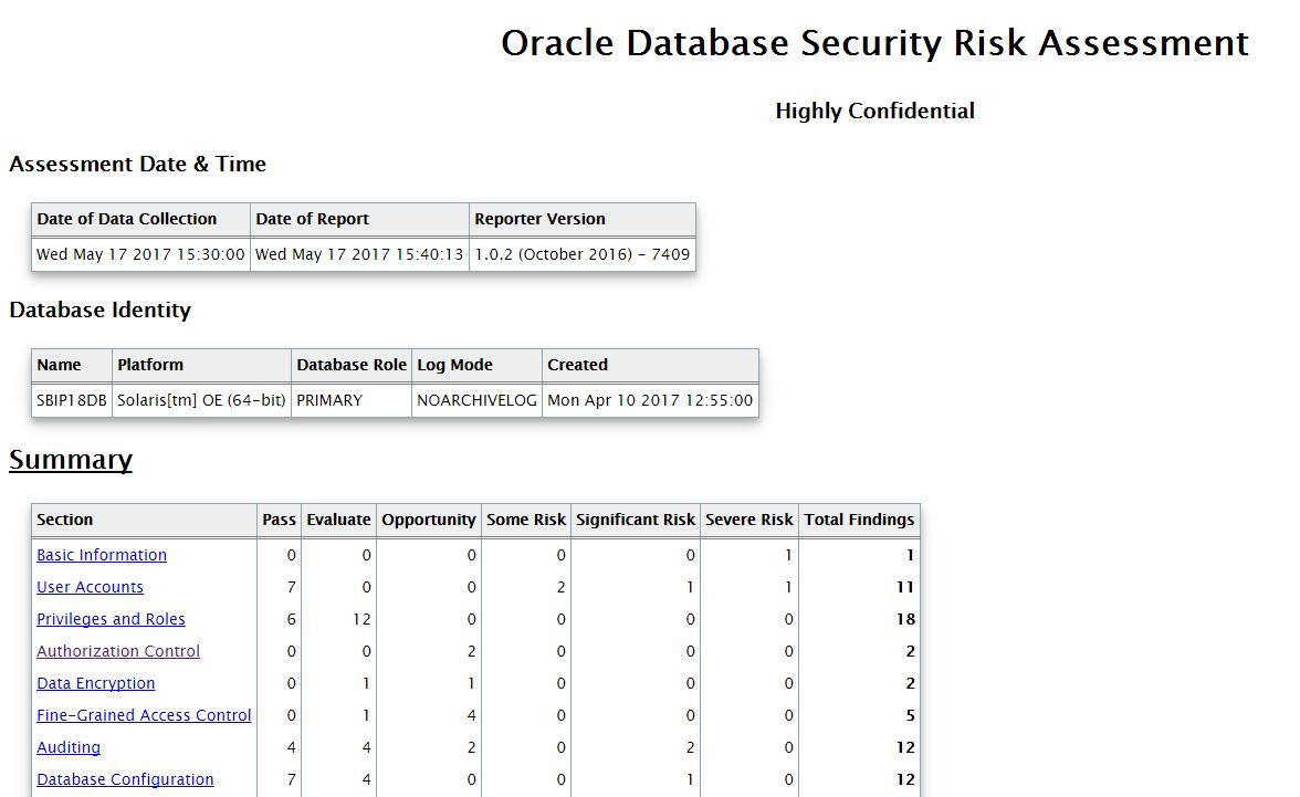 Security Assessment Oracle Tool Database 2017 Pictures