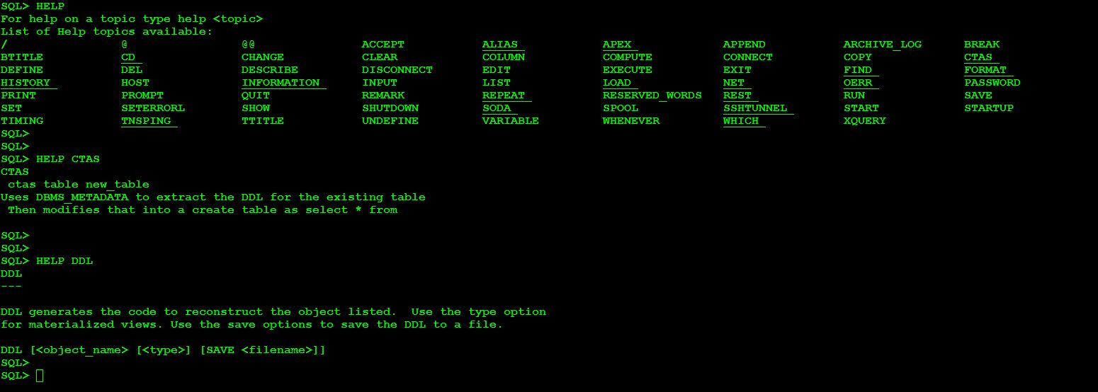 SQLCL command line utility oracle DBACLASS